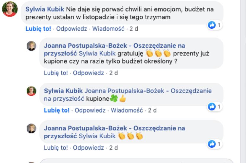 Komentarz na fanpage Joanna Postupalska-Bożek Oszczędzania na przyszłość od Sylwia Kubik